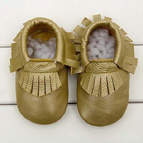 Culater® Bebé Borla Suave úNicos Zapatos De Cuero Infantil NiñO NiñA NiñO Oro