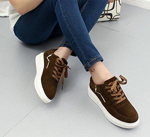 chaussures aider Chaussures et brown avec d'ascenseur chaussures sport basses printemps à célibataires pour chaussures plates lacets au des femmes de automne chaussures Mme les x6R6t