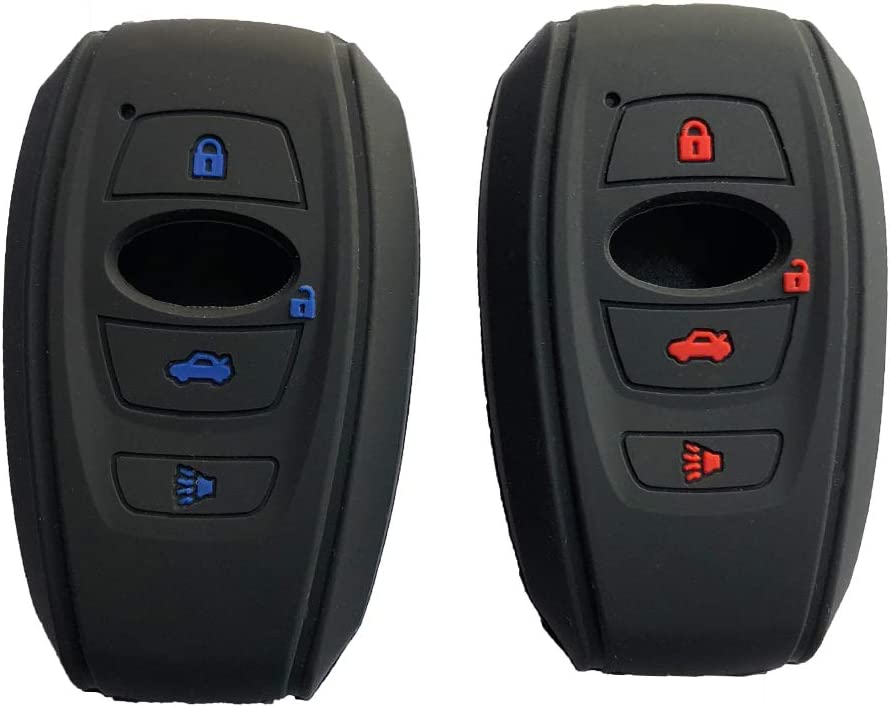 2Pcs Smart Key fob Cover for 2019 Subaru Forester 2017 Outback 2015 2016 XV Crosstrek Impreza 2014-2017 BRZ 2016 WRX Protector Case fit for 4buttons Key Cover Holder Black+Red