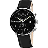 Men's 'Monaco' Quartz Chronograph Date Stainless Steel and Leather Dress Watch, 803.01,Black