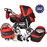 Kamil - Sistema de viaje 3 en 1, silla de paseo, carrito con capazo y silla de coche, RUEDAS ESTÁTICAS y accesorios (Sistema de viaje 3 en 1, negro, rojo)