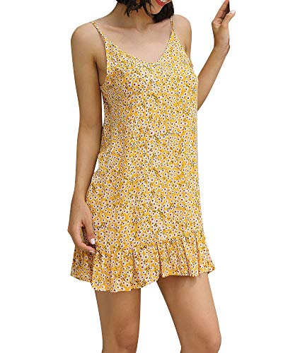 Womens Summer Beach Dress - Floral Sleeveless Deep V Neck Ruffle Spaghetti Strap Flowy Cute Beachwear Yellow