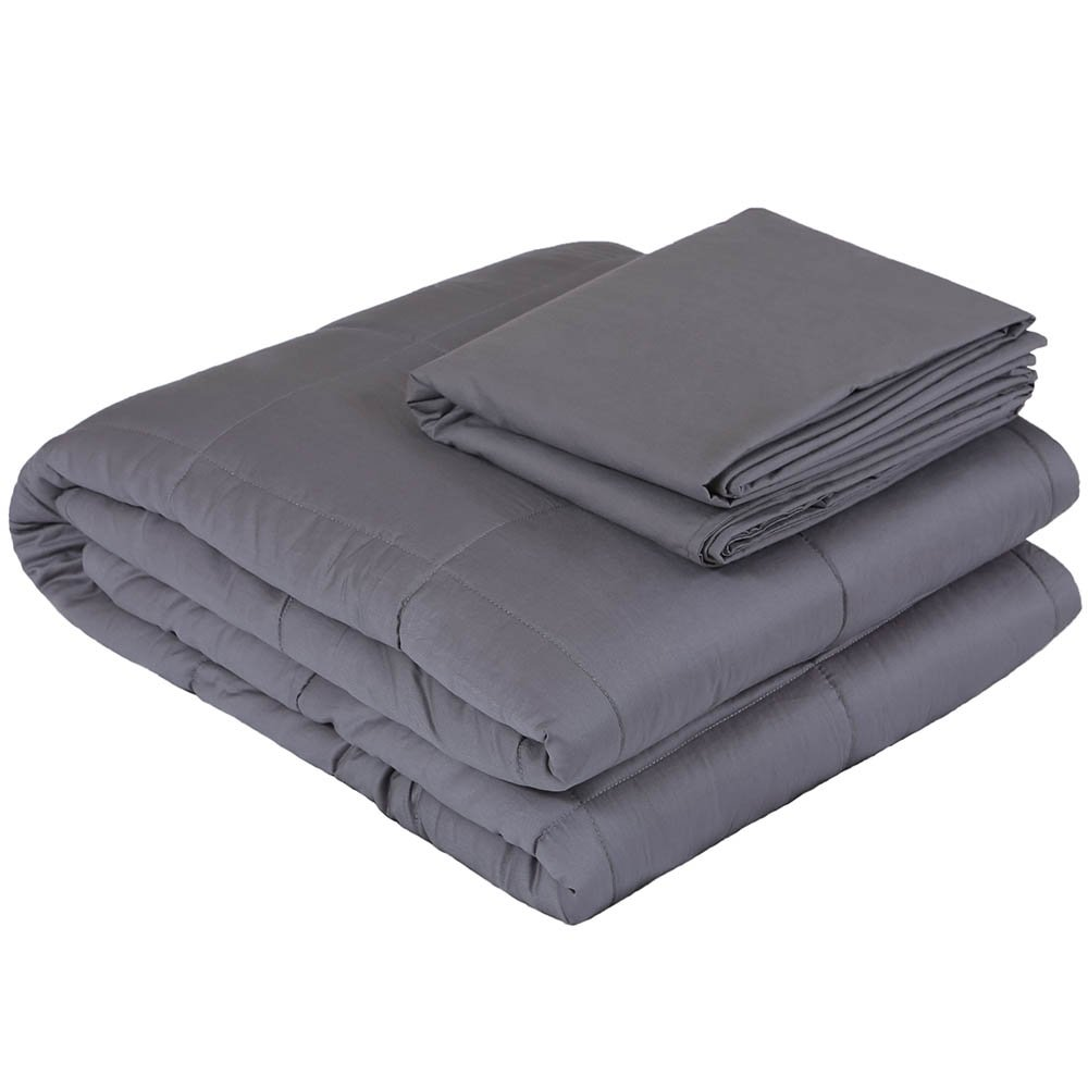 Weighted Idea Weighted Blanket Set | 30 lbs for Couple | 80''x87'' | Cotton | Grey | for Adult Women and Men | King Size