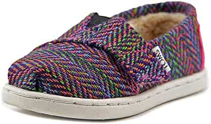 TOMS Kids Baby Girl's Seasonal Classics (Infant/Toddler/Little Kid) Multi Herringbone/Shearling Loafer 7 Toddler M