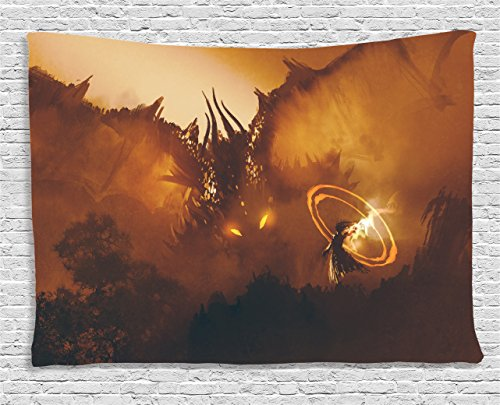 Ambesonne Fantasy Tapestry, Calling of The Dragon Magician for Evil Powers of The Universe Artwork Print, Wide Wall Hanging for Bedroom Living Room Dorm, 60