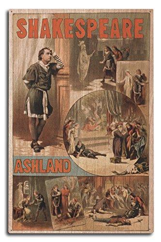 Ashland, Oregon - William Shakespeare Hamlet - Vintage Theater Advertisement (10x15 Wood Wall Sign, Wall Decor Ready to ()