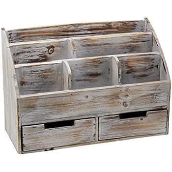 Amazon Com Vintage Rustic Wooden Office Desk Organizer