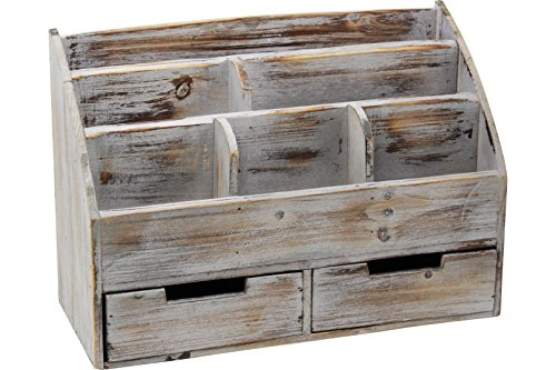 Vintage Rustic Wooden Office Desk Organizer & Mail Rack For Desktop, Tabletop, or Counter - Distressed Torched Wood – For Office Supplies, Desk Accessories, Mail (Set Top Desk Executive)