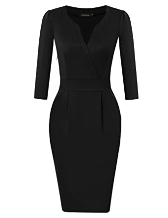 Hiqueen Women Vintage V Neck Office Work Business Party Bodycon
