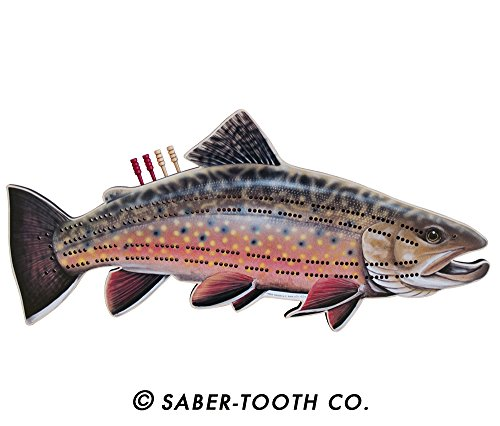 (Brook Trout Fish Cribbage Board - Fun Fish & Animal Shapes, Card Games)