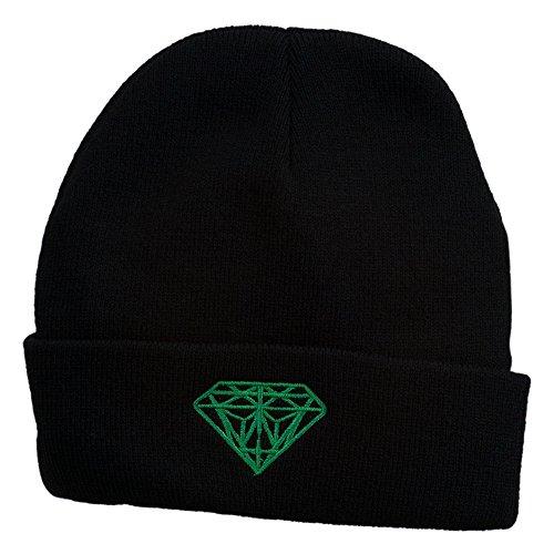 Black Diamond Diamond Beanie (Diamond Embroidered Cuff Long Black Beanie - Kelly Green OSFM)