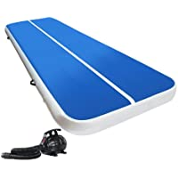 Air Track Gymnastics Inflatable Airtrack Mat and Electric Air Pump 4M X 2M Tumble Floor Gymnastic Training Cheerleading Yoga Gym Professional Equipment Everfit Home Indoor Outdoor Blue 20CM Thick