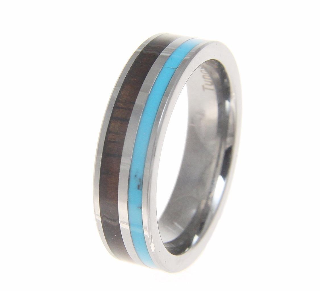 Tungsten 6mm wedding band ring turquoise Hawaiian koa wood comfort fit size 9