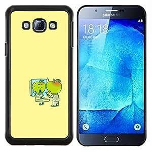 KLONGSHOP // Cubierta de piel con cierre a presión Shell trasero duro de goma Protección Caso - Minimalista Cartoon amarillas Niños - Samsung Galaxy A8 A8000 //