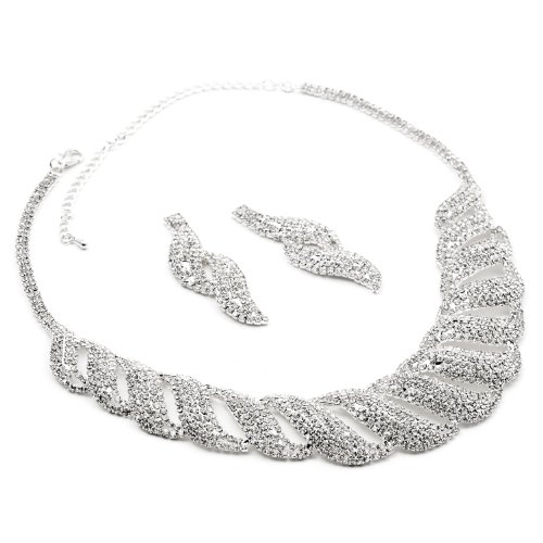 Silver Crystal Rhinestone Braid Drop Dangle Earrings & Crystal Braid Net Necklace Jewelry Set