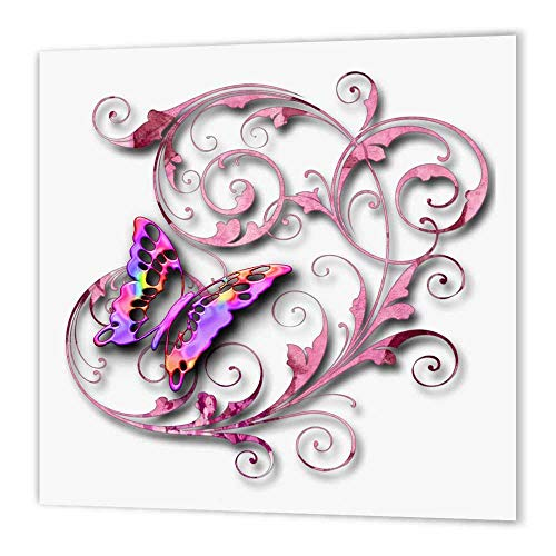3dRose ht_167212_3 Golden Accented Vines and Pretty Multi Colored Butterfly-Iron on Heat Transfer Paper for White Material, 10 by 10-Inch