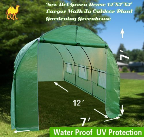 STRONG CAMEL New Hot Green House 12'X7'X7′ Larger Walk In Outdoor Plant Gardening Greenhouse