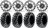 Bundle - 9 Items: STI HD6 14'' Wheels Machined 26'' Grim Reaper Tires [4x137 Bolt Pattern 10mmx1.25 Lug Kit]