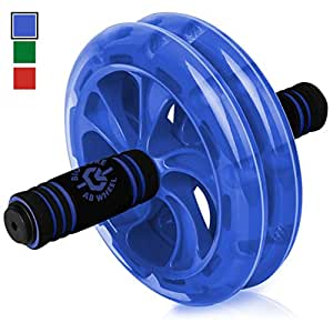BIO Core Ab Roller - Fitness Wheel & Abdominal Carver To Workout, Exercise & Strengthen Your Abs & Core - Plus, Get A FREE Pro Knee Mat To Supplement Your Training For A Limited Time - Blue
