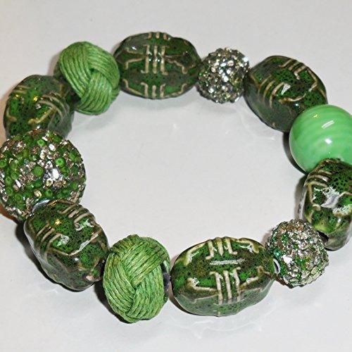 Medium Green Stretch Bracelet, Olive Green Bracelet, Lt Green Sparkle, Tropical Camouflage Collection, Police the Grounds Bracelet BL9-1552