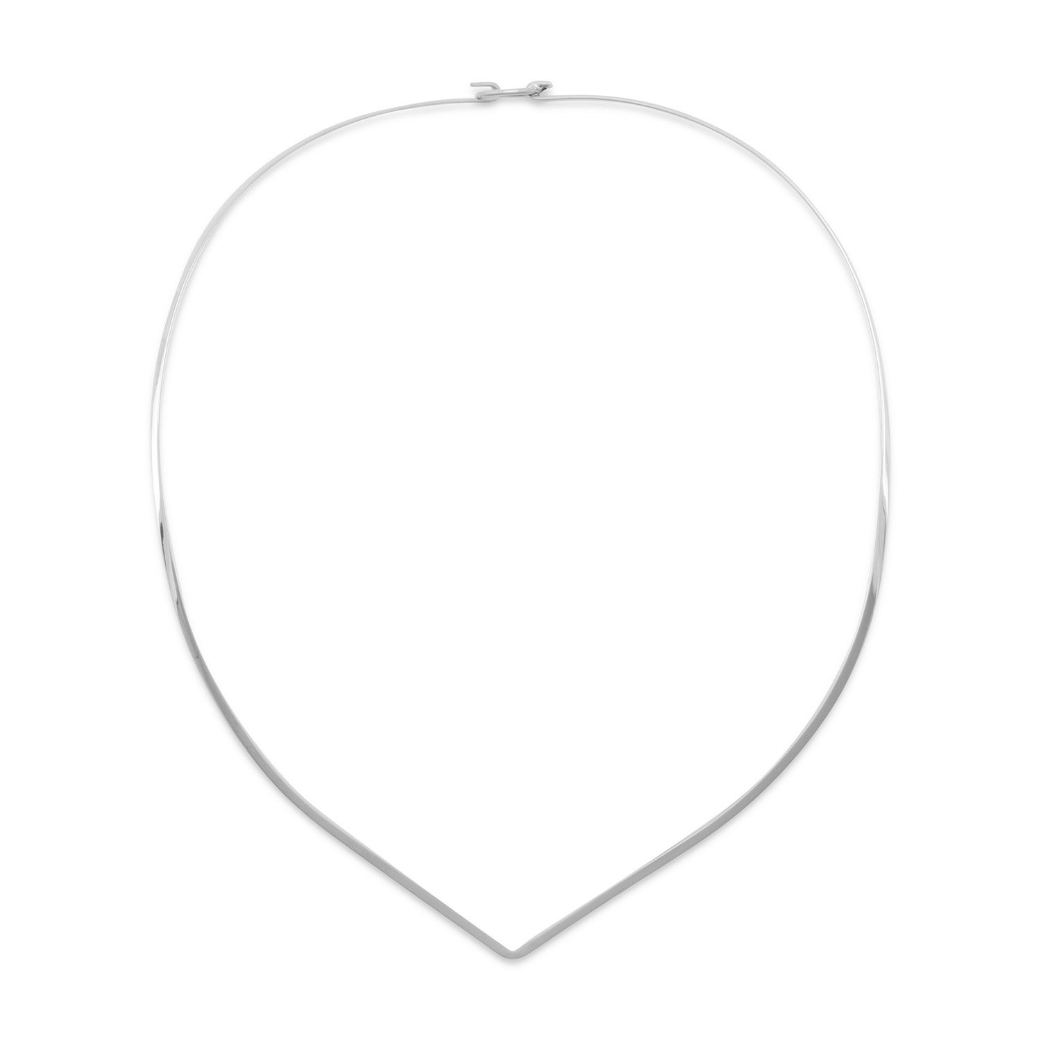 Sterling Silver 16 Inch 2mm V Collar With Closed Back - Hook Clasp - 16 Inch Necklace