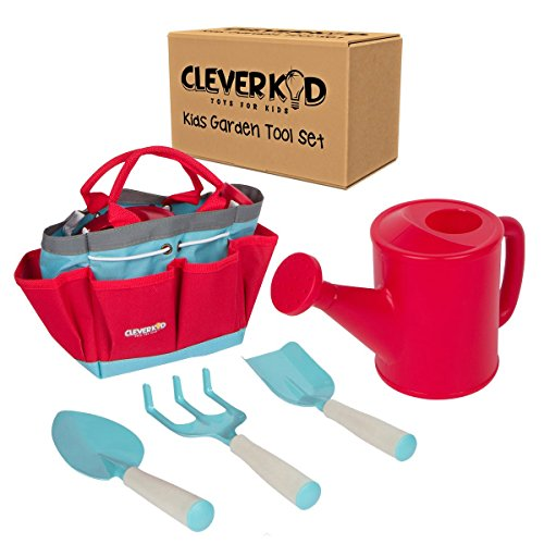 Kids Gardening set By Clever Kid Toys - Includes Sturdy Tote Bag, Watering Can, Shovel, Rake, and Trowel - Kids Garden Tools (Flowers Toy Bag)