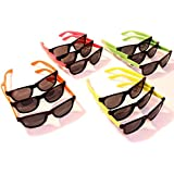 Dazzling Toys 12 Pairs Neon 80's Wayfarer Sunglasses Kids Party Favors 4.5 Inch - Pack of 12