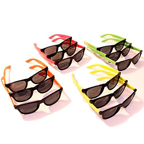 Dazzling Toys 12 Pairs Neon 80's Wayfarer Sunglasses Kids Party Favors 4.5 Inch - Pack of 12 (Halloween Costume Ideas With Glasses)