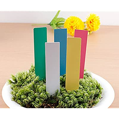 100 Pcs Reusable Plastic Pencil Shaped Seed Nursery Plant Label - 4 x 3/4 Inch Waterproof Gardening Marker Seeds Identifier Garden Stakes Gardening Tags (White): Garden & Outdoor