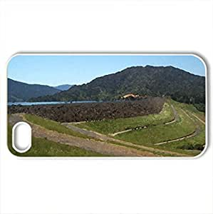 Hills-and-Curving-Roads - Case Cover for iPhone 4 and 4s (Mountains Series, Watercolor style, White)