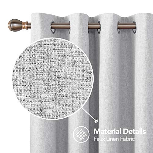 Deconovo Thermal Insulated Curtains Full Blackout Curtain Energy Saving Room Darkening Curtain with Grey Coating Curtains for Kids Room Light Grey 52W x 84L Inch 2 Drapes