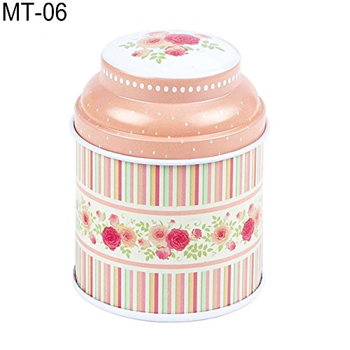 dezirZJjx Tea Container, Premium Tinplate Caddy Box Vintage Flowers Cylinder Round Tea Tins for Home Kitchen Storage Containers Colorful Tins- MT-03 by dezirZJjx (Image #7)
