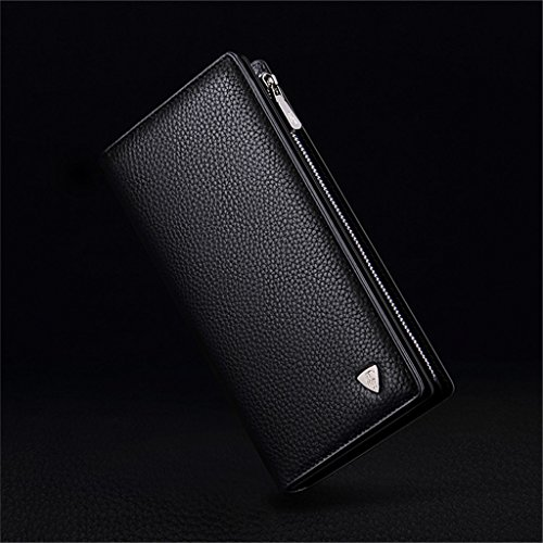 Long Purse Mens Cow Soft Men's Genuine William Wallet Leather POLO Black Money Clip ypS0wHqY