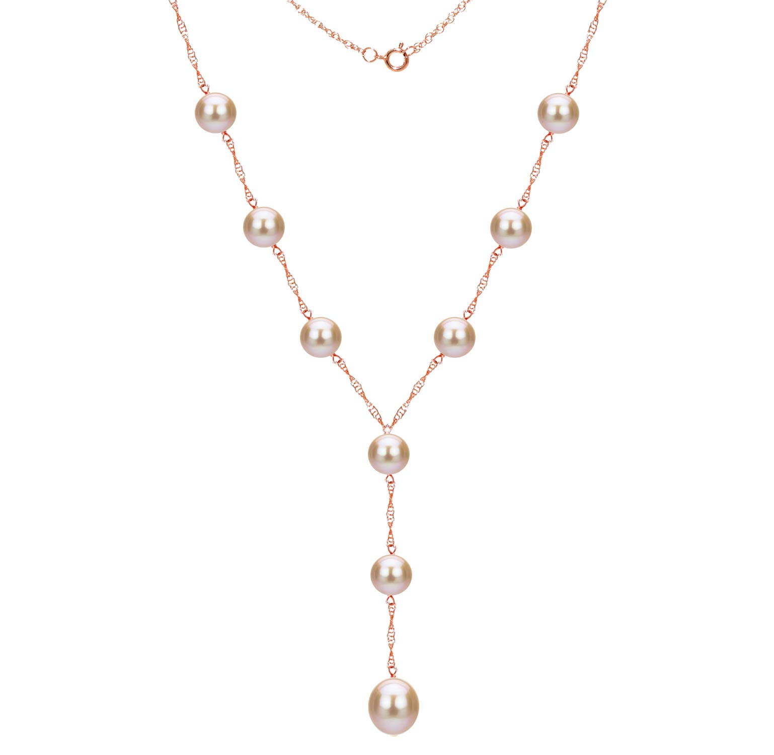 14k Rose Gold 8-8.5mm and 9-9.5mm Pink Freshwater Cultured Pearl Station Necklace, 18'' + 2'' Drop by La Regis Jewelry