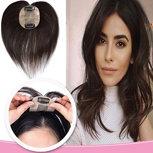 """10"""" Silk Base Human Hair Toppers Clip in Hair Top Hairpiece Women Crown Toupee for Thinning Hair #2 Dark Brown"""