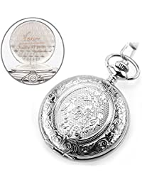 Custom Engraved Monogrammed Quartz Silver Pocket Watch...