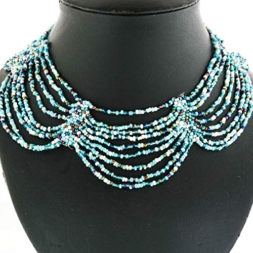 Elegant Cascading Blue Peacock Beige Seed Beads Beaded Necklace YE-3116 Beaded Sterling Silver 18' Necklace