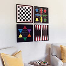Classic Wood Game Boards Hanging Set of Four with Playing Pieces - Chess, Checkers, Parcheesi, Chinese Checkers, Backgammon (Black)