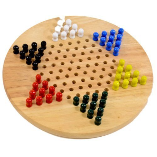 Chinese Wood Peg Checkers Board Game, 12