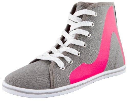 Damen Sneaker Schnürschuhe Schuhe Turnschuhe Damenturnschuhe Halbschuhe mit High Heel Aufdruck Grau