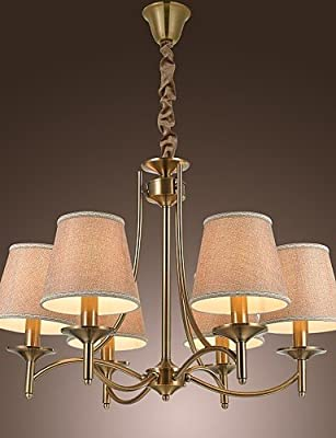 qiuxi High-end fashion Interior Ceiling lamp The new European high-end electroplating copper imitation Wrought Iron Chandelier chandelier chandelier 6 luxury hotel , 110-120v