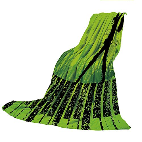 SCOCICI Blanket for Bed Couch Chair Fall Winter Spring Living Room,Popstar Party,Music in The City Theme Singer with Electric Guitar on Grunge Backdrop,Lime Green Black,59.06