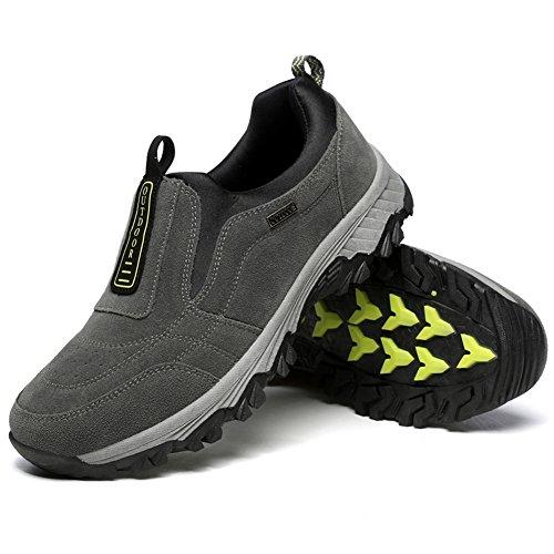 Gomnear Männer Lässige Schuhe Wanderstiefel Wildleder Draussen Gehen Atmungsaktiv Winter Turnschuhe Grau