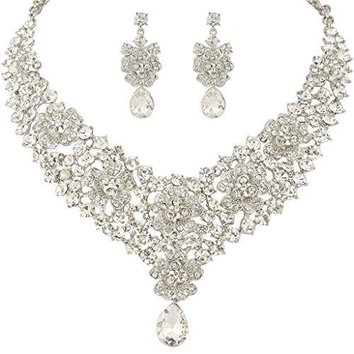 EVER FAITH Women's Austrian Crystal Elegant Orchid Flower Teardrop Jewelry Set Clear Silver-Tone ()