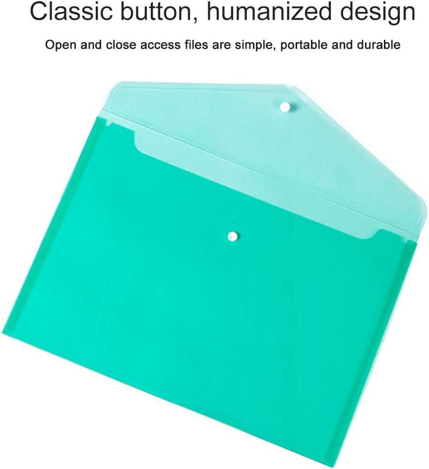 IWILCS Lot de 20 pochettes en plastique A4 avec bouton pour l/école et le bureau 5 couleurs