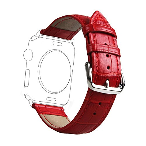 Genuine Crocodile Band (Sundo Replacement Wrist Band for Apple Watch Band,Premium Genuine Leather Crocodile Pattern Replacement Strap with Classic Metal Adapter Clasp for Apple Watch All Models series 1/ 2 (Red 42mm))
