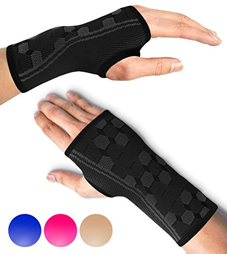 Sparthos Wrist Support Sleeves (Pair) - Compression Wrist Brace for Men and Women - Carpal Tunnel Tendonitis Arthritis Pain Relief Wrist Pain Strains Sprains Bursitis Improve Circulation (Black-L)