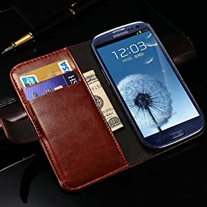 Vintage Deluxe PU Leather Phone Bag Case For Samsung Galaxy S3 I9300 Book Style Phone Back Cover Card Slot With Stand New 2015 --- Color:Black Case