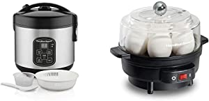 Hamilton Beach Digital Programmable Rice Cooker & Food Steamer, 8 Cups Cooked (4 Uncooked) & Electric Egg Cooker and Poacher for Soft, Hard Boiled or Poached with Ready Timer, Holds 7, Black