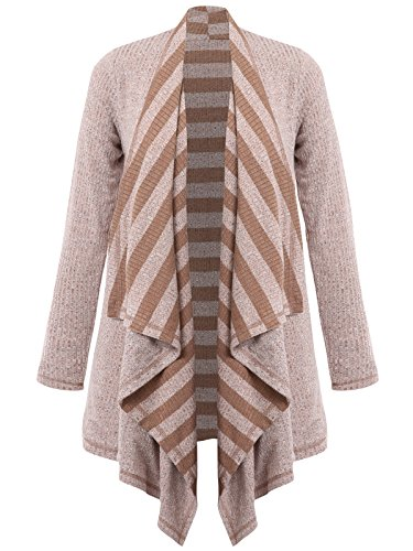 JayJay Women Stripe Reversible Knit Open Shawl Open Cardigan Sweater,BROWN,M